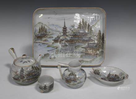 A Japanese porcelain tea set, early 20th century, comprising teapot and cover, milk jug, leaf shaped