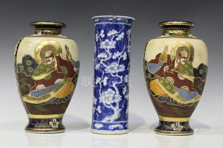 A Chinese blue and white porcelain cylinder vase, mark of Kangxi but late 19th century, painted with