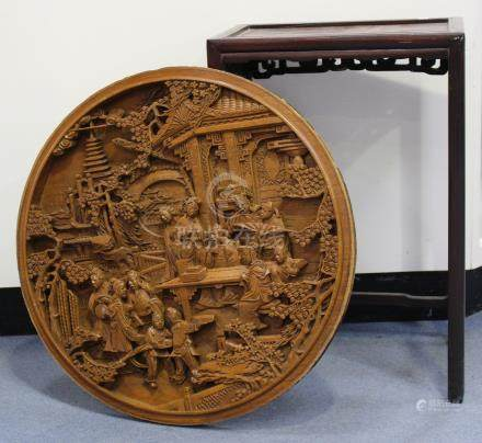 A Chinese hardwood side table, late 19th/early 20th century, with rectangular panelled top, height