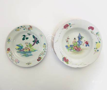 Two Chinese Famille Rose plates comprising a plate and bowl decorated with iridescent enamels,