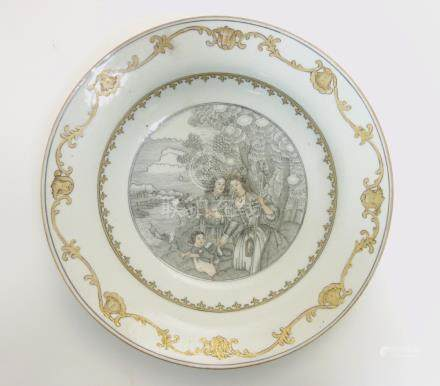A Chinese Export grisaille plate, hand painted in grisaille and gilt,