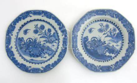 Two Chinese blue and white octagonal plates with canted corners,