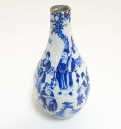 An 18thC Chinese Tianqiu pear-shaped blue and white vase with figures in a pagoda garden setting at
