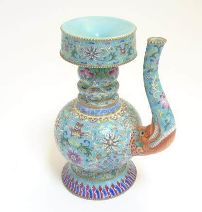 A Chinese Famille Rose turquoise-ground cloisonné-imitation ceremonial wine ewer and lid,