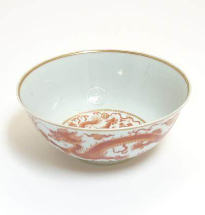 A Chinese iron-red 'Dragon' bowl ,