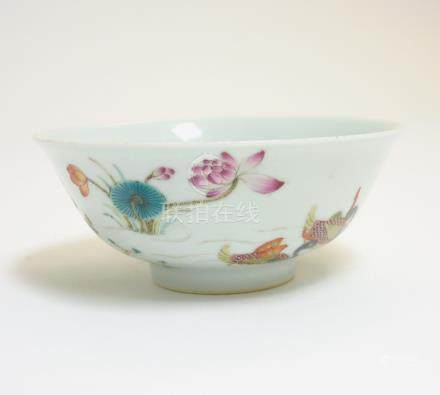 A Chinese Famille Rose duck and lotus bowl,