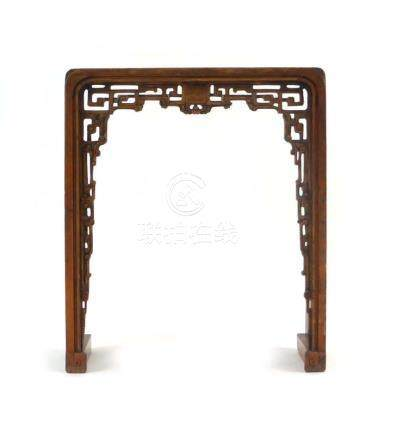 A late 19th/early 20th century Chinese stained and carved pine altar table, w.