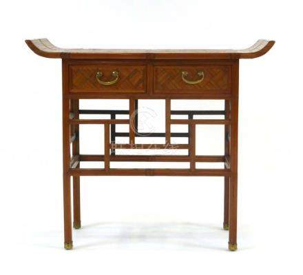 A mid-20th century Korean bamboo work altar table table of typical form having two frieze drawers,