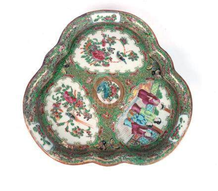 A Cantonese tray of trefoil form typically decorated with traditional scenes, birds and insects, w.