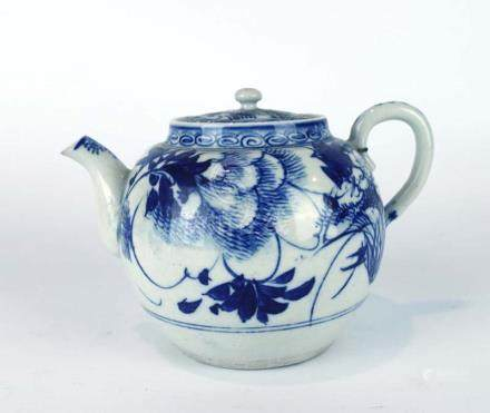 A late 19th century Chinese blue and white teapot and cover of globular form decorated with