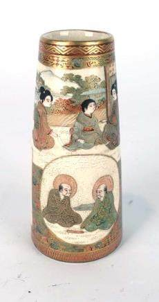 A Satsuma miniature vase of tapered cylindrical form typically decorated with figures at leisure,