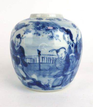 A late 19th/early 20th century Chinese blue and white ginger jar decorated with figures at leisure,