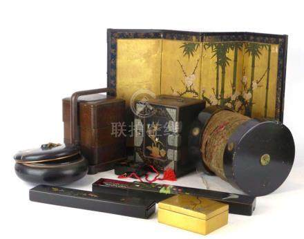 A large collection of early 20th century and later lacquer work boxes, trays and other items,