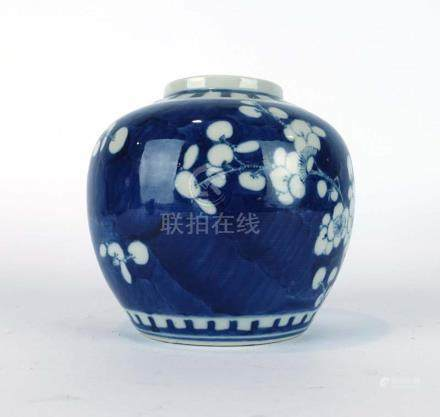 A Chinese blue and white ginger jar of typical form decorated with prunus,