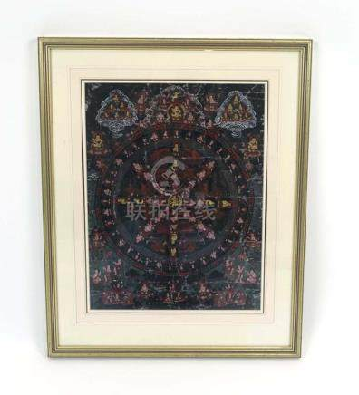 A late 19th/early 20th century hand painted Tibetan thanka of typical composition, 42 x 31.