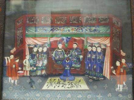 19th century Chinese School - a view of a ceremony with a man kneeling before a seated man and woman