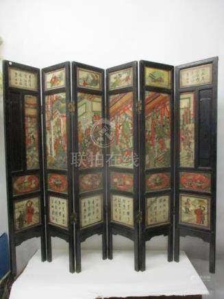 A 19th century Chinese hardwood framed, six fold screen with painted stone panels, a ceremonial