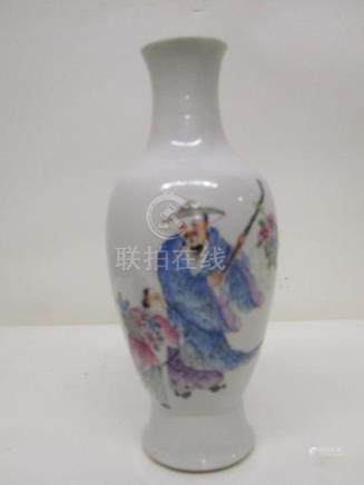 A 20th century Chinese vase of ovoid form decorated with a man carrying a staff and flowers and a