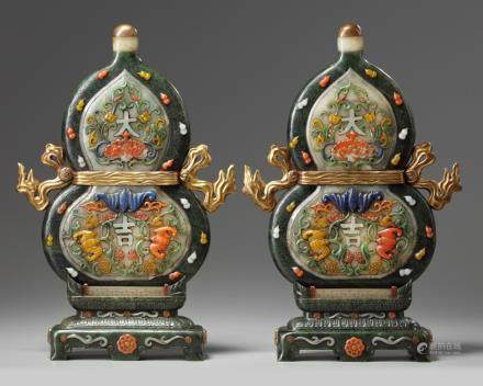 A pair of Chinese jade precious-objects inlaid double gourd plaques