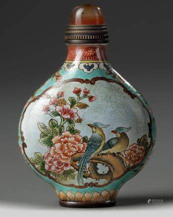 A Chinese painted enamel 'birds' snuff bottle