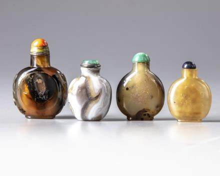 Four Chinese agate snuff bottles