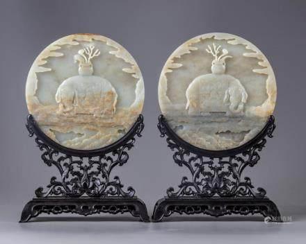 A pair of Chinese celadon jade circular table screens