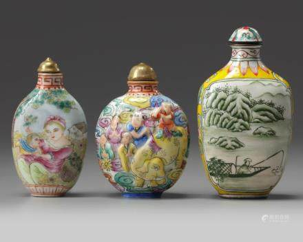 Three Chinese painted enamel and famille rose snuff bottles
