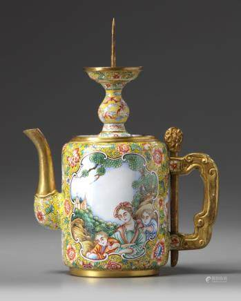 A Chinese painted enamel 'European subject' teapot and pricket stick cover