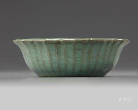 A Chinese celadon crackle-glazed bowl