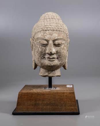 A Chinese stone buddha head