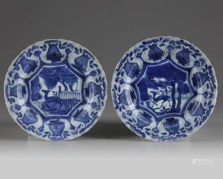 Two Chinese blue and white 'Kraak porcelain' 'deer' plates