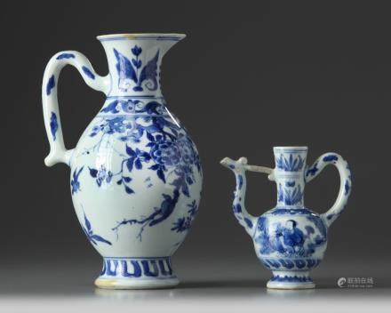 Two Chinese blue and white ewers