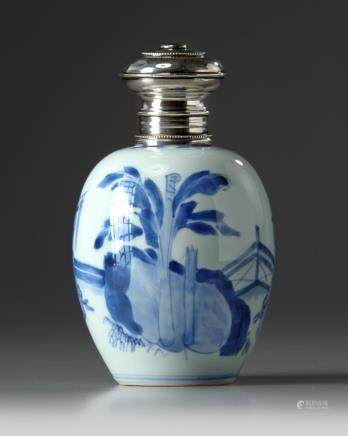 A Chinese blue and white 'ladies' ovoid jar