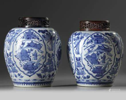 A pair of Chinese blue and white ovoid jars