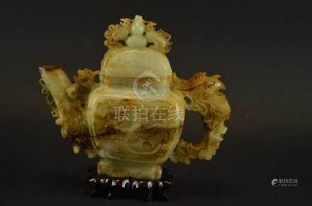 Chinese Jadeite Lidded Tea Pot