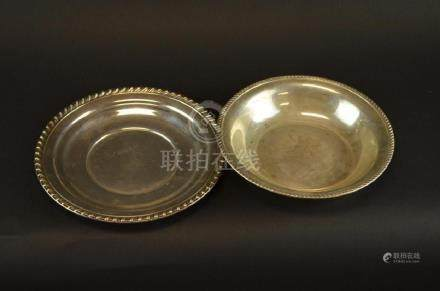 Two Sterling Silver Plates