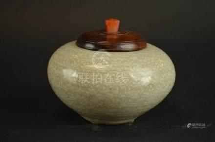 Chinese Celadon Glaze Lidded Bowl