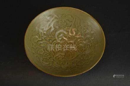 Chinese Tea Dust Glaze Porcelain Footed Bowl