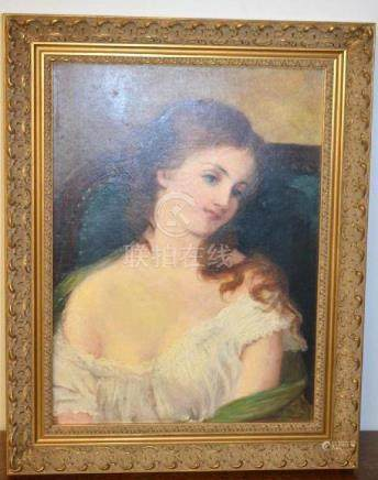 Framed Oil Painting of a Woman
