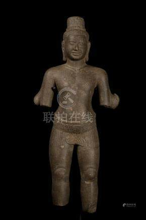 Khmer Bayon Style Stone Lokeshvara Torso Statue