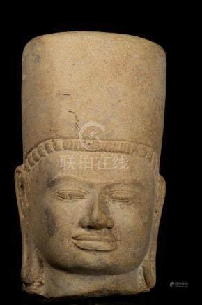 19th Century Stone Vishnu Head - Protector & Preserver