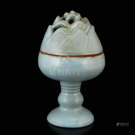 Chinese Sky Blue Glaze Ru Kiln Porcelain Incense Burner