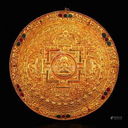 Tibetan Buddhism Silver Gilt Gold Kwan-yin Tangka