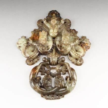 Openwork Vintage Chinese Hetian Jade Door knocker