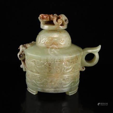 Vintage Chinese Hetian Jade Chi Dragons Incense Burner