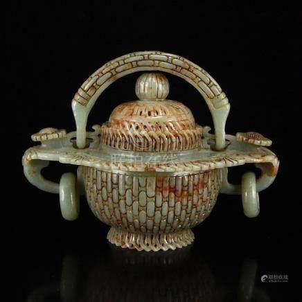 Vintage Chinese Hetian Jade Flower Basket Statue