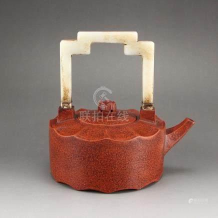 Vintage Yixing Zisha Clay Inlay Natural Jade Teapot