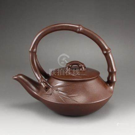 Chinese Yixing Zisha Clay Bamboo Style Teapot