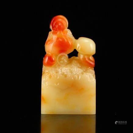 Chinese Natural Shoushan Stone Mushrooms & ladybug Seal