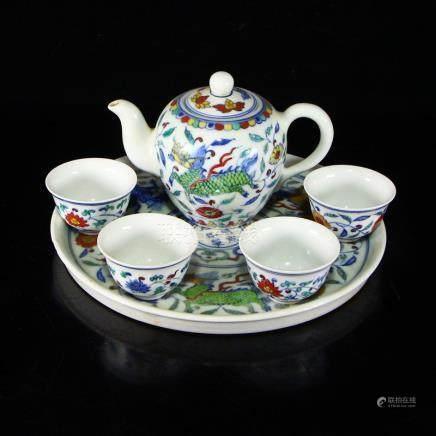 Set Chinese Doucai Porcelain Teapot & Cups w Tea Tray